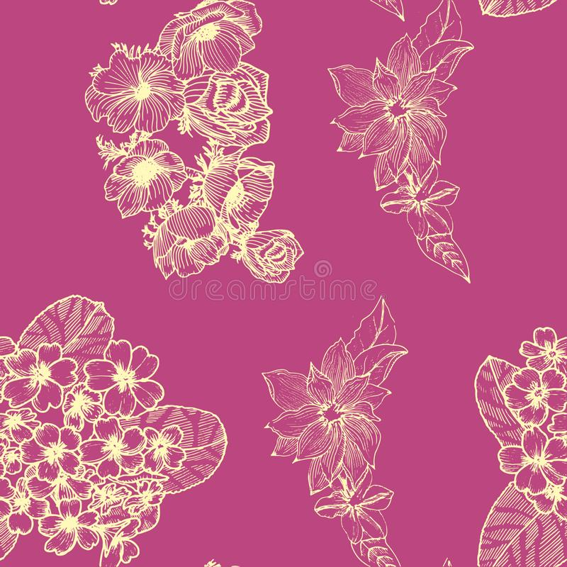 Teste padr?o sem emenda com flores douradas Anemona primula Clematis ilustração royalty free
