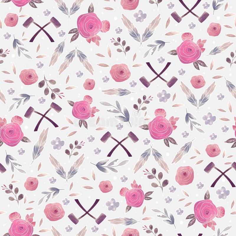 Teste padr?o sem emenda com flores e folhas Textura floral criativa foto de stock