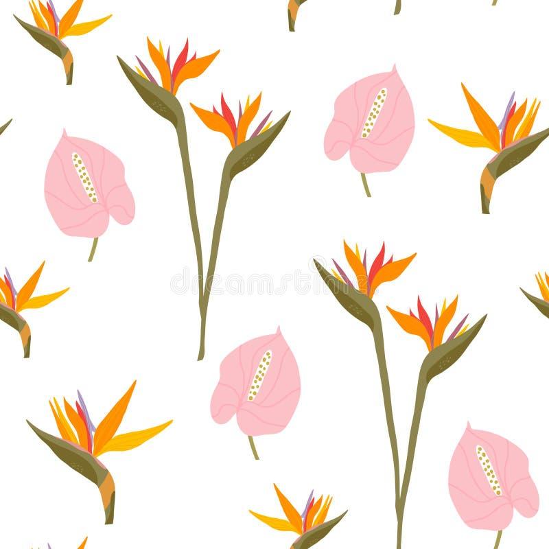 Teste padr?o sem emenda com flores tropicais Textura floral criativa Grande para a tela, ilustra??o do vetor de mat?ria t?xtil ilustração royalty free