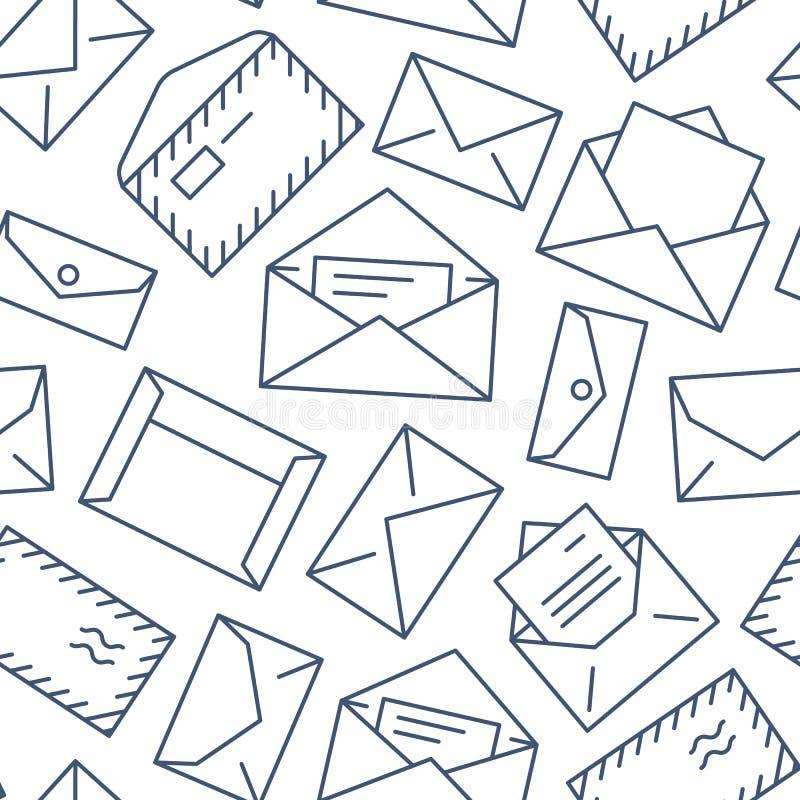 Teste padr?o sem emenda com linha lisa ?cones dos envelopes Fundo do correio, mensagem, envelope aberto com letra, vetor do e-mai ilustração royalty free