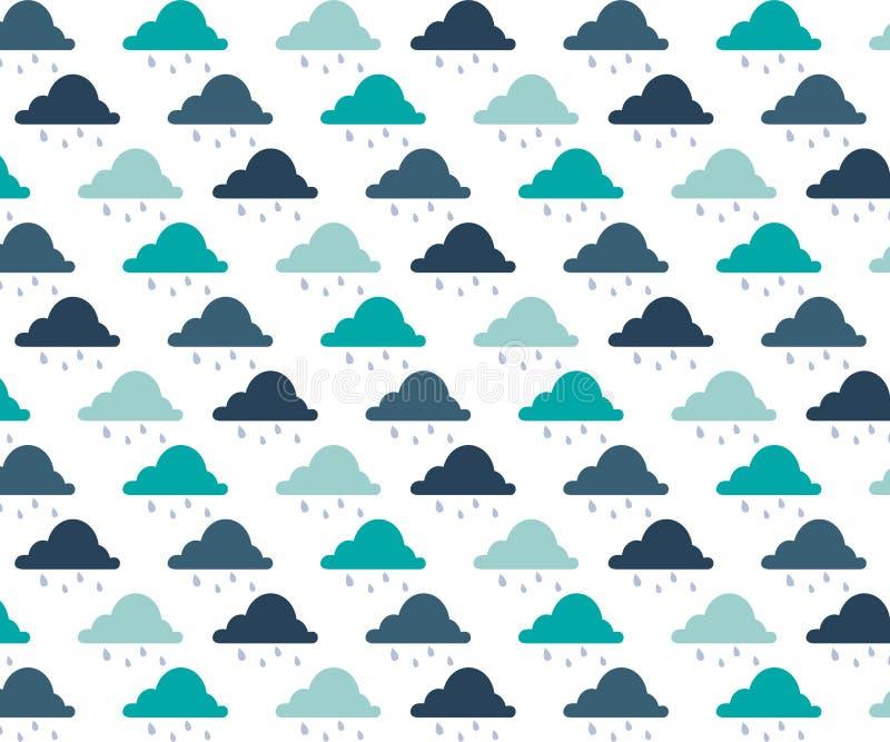 Teste padr?o sem emenda com nuvens e pingos de chuva teste padr?o de 3 cores Teste padr?o sem emenda com nuvens e pingos de chuva ilustração royalty free