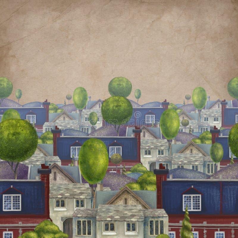 Teste padr?o sem emenda com os telhados das casas Cidade inglesa fabulosa velha Ilustra??o de livro ilustração royalty free