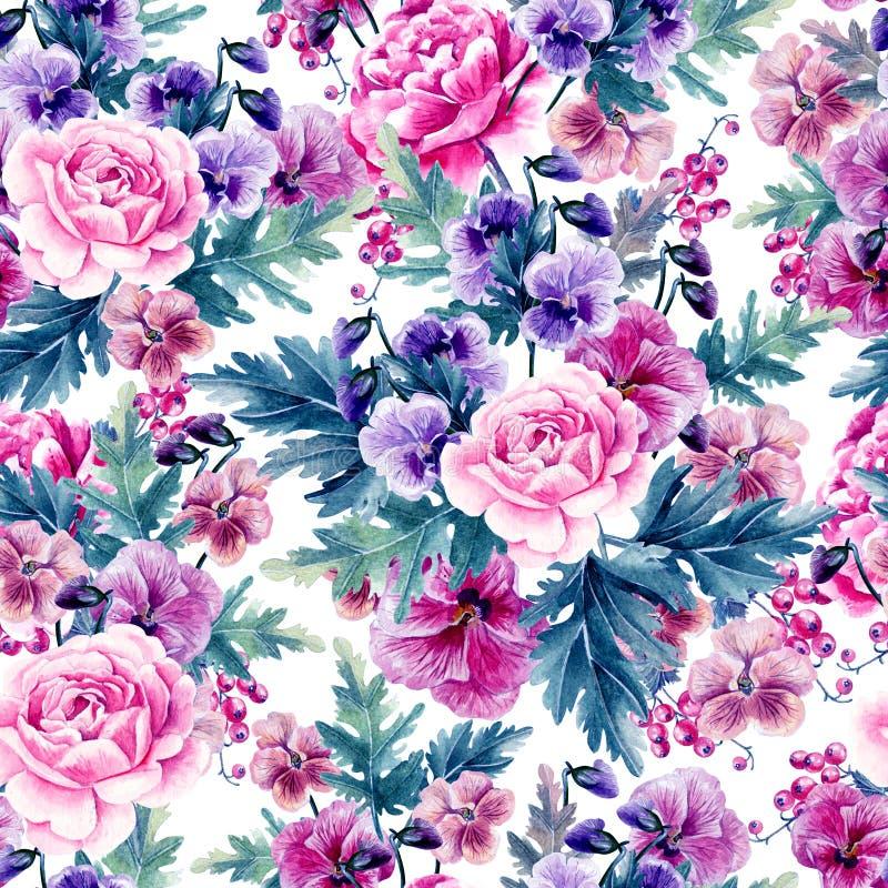 Teste padr?o sem emenda da aquarela brilhante com pe?nia, rosas e flores da violeta, bagas foto de stock