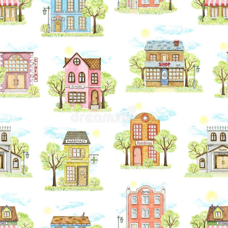 Teste padr?o sem emenda da aquarela com as casas de cidade dos desenhos animados cercadas pela paisagem ilustração royalty free