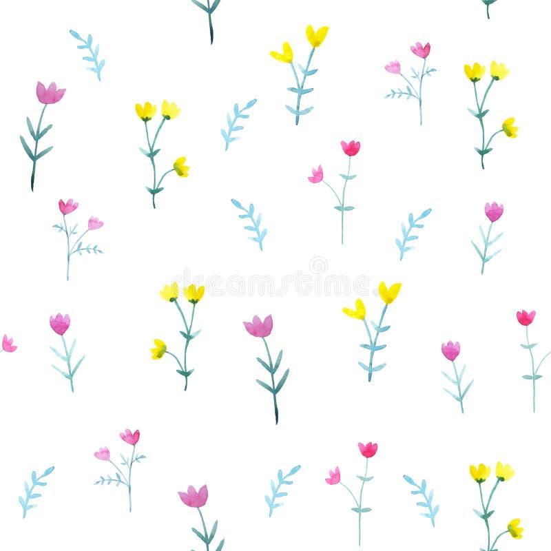 Teste padr?o sem emenda da aquarela com flores e as folhas brilhantes ilustração royalty free