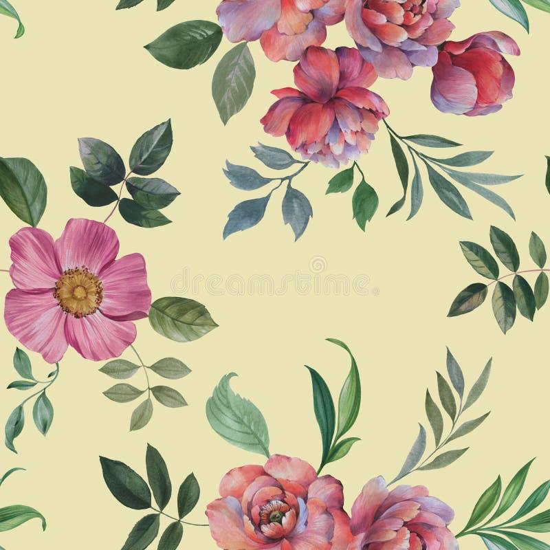 Teste padr?o sem emenda da aquarela Ilustra??o das flores e das folhas ilustração do vetor