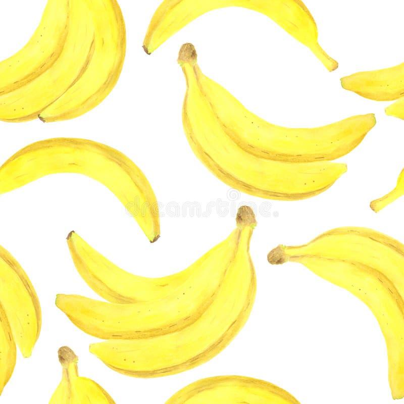 Teste padr?o sem emenda da banana da aquarela Ilustração de dieta saudável fresca tirada mão do alimento no fundo branco para o p ilustração stock