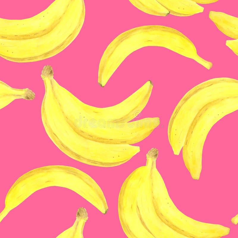 Teste padr?o sem emenda da banana da aquarela Ilustração de dieta saudável fresca tirada mão do alimento no fundo cor-de-rosa bri ilustração stock