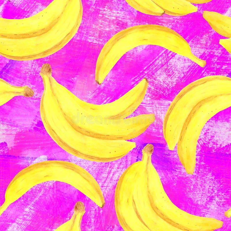 Teste padr?o sem emenda da banana da aquarela Ilustração de dieta saudável fresca tirada mão do alimento no fundo textured roxo d ilustração royalty free
