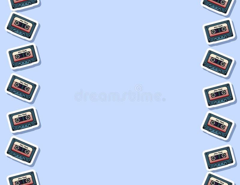 Teste padr?o sem emenda da fita retro da mistura Formato da letra ilustração stock