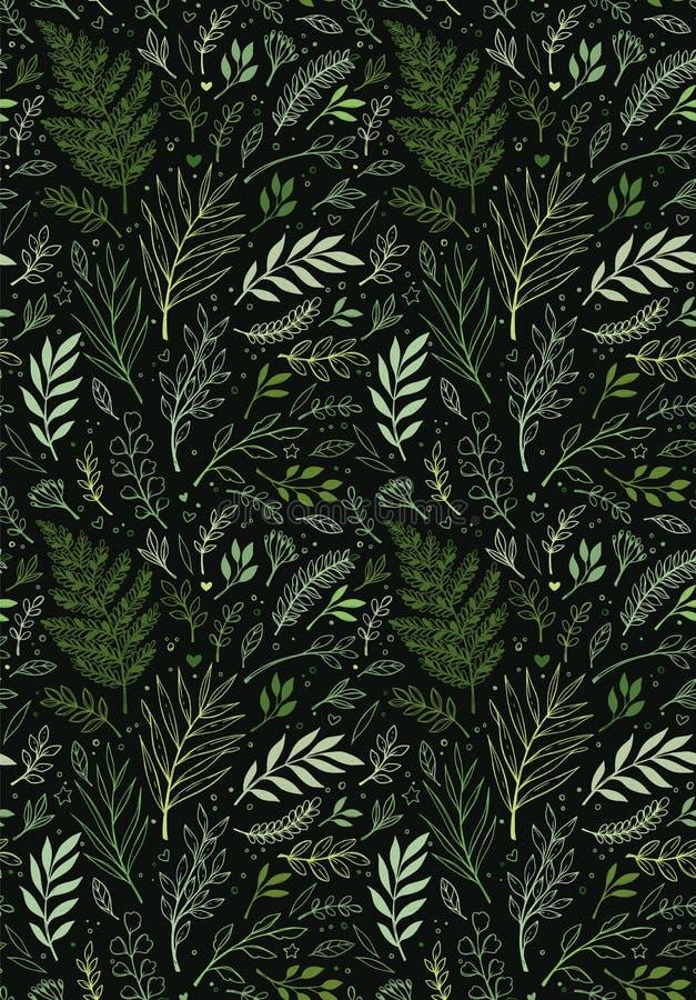 Teste padr?o sem emenda da mola Fundo bot?nico com eucalipto, ramos, samambaia e folhas Fundo floral do projeto?, contexto, proje ilustração do vetor