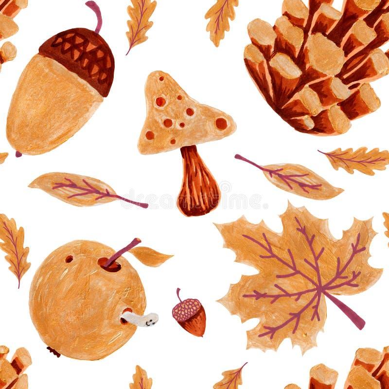 Teste padr?o sem emenda da natureza do outono Textura tirada mão folhas com, da árvore amarela e alaranjada, bolota e cone no bra fotografia de stock royalty free