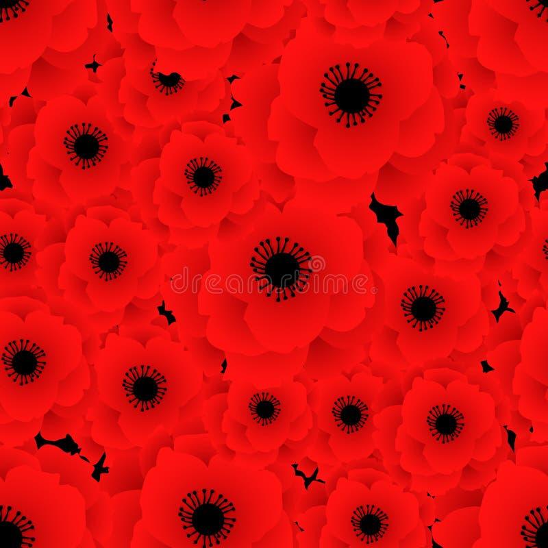 Teste padr?o sem emenda da papoila Papoilas vermelhas no fundo preto Pode ser usado para a mat?ria t?xtil, os pap?is de parede, a ilustração do vetor