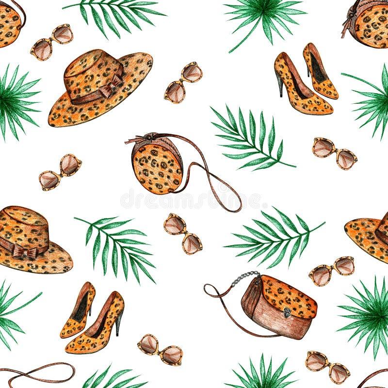 Teste padr?o sem emenda das folhas de palmeira ilustração stock