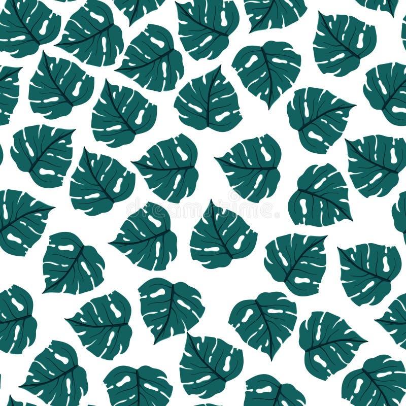 Teste padr?o sem emenda das folhas de palmeira Folhas tropicais do ver?o no fundo branco ilustração royalty free