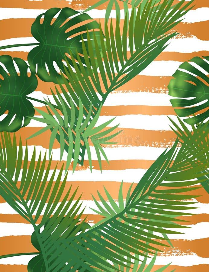 Teste padr?o sem emenda das folhas de palmeira tropicais do ver?o nas listras de cobre da textura ilustração royalty free