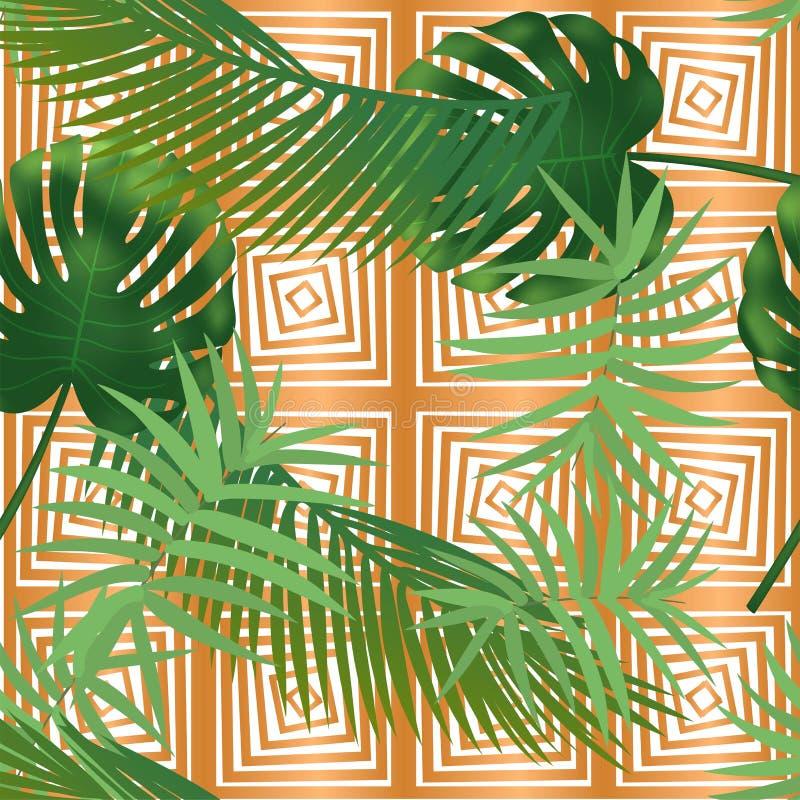 Teste padr?o sem emenda das folhas de palmeira tropicais do ver?o nas listras de cobre da textura ilustração stock