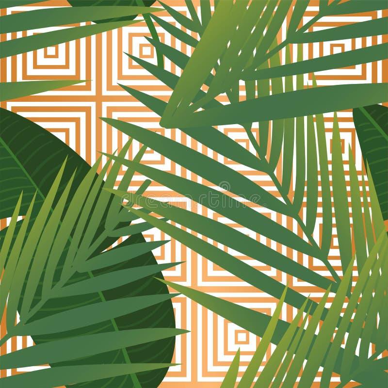 Teste padr?o sem emenda das folhas de palmeira tropicais do ver?o nas listras de cobre da textura ilustração do vetor