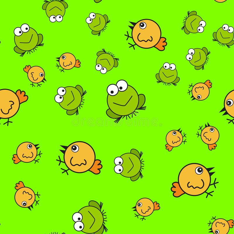 Teste padr?o sem emenda das galinhas e das r?s no estilo dos desenhos animados ilustração stock