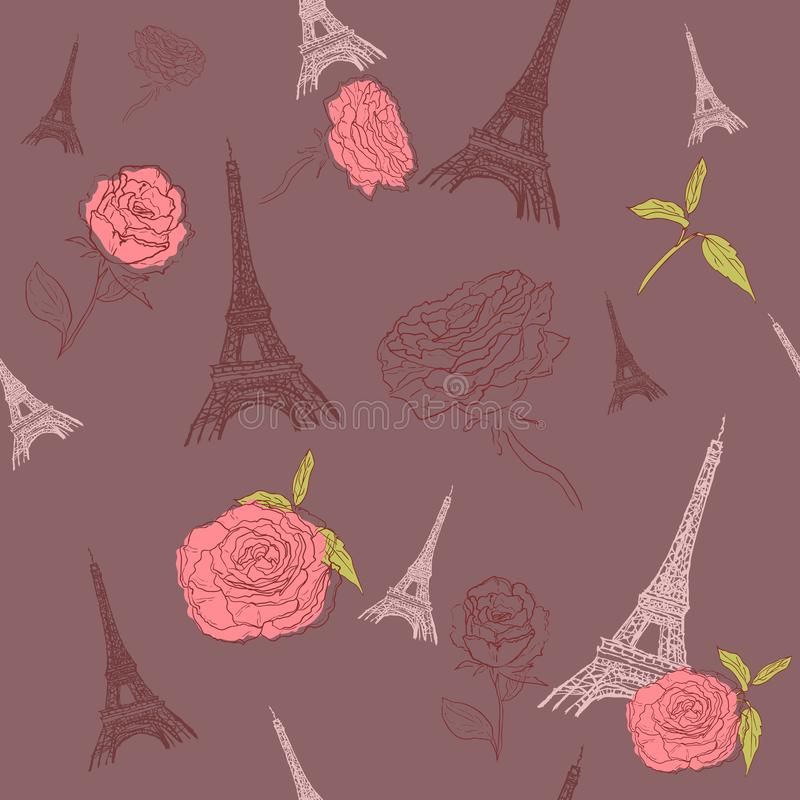 Teste padr?o sem emenda de Paris com as flores da torre Eiffel e das rosas Fundo franc?s do vetor Aperfei?oe para pap?is de pared ilustração do vetor