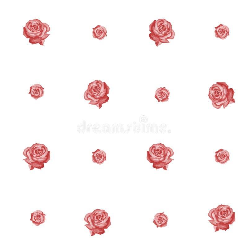 Teste padr?o sem emenda de rosas vermelhas em um fundo branco Estilo retro ilustração do vetor