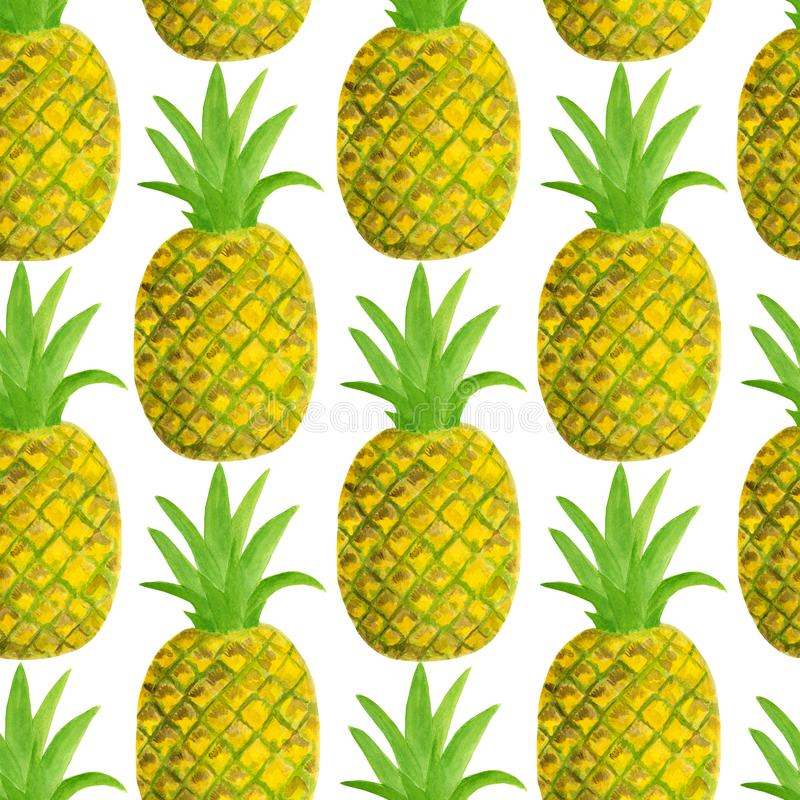 Teste padr?o sem emenda do abacaxi da aquarela Ilustração tirada mão dos frutos tropicais isolada no fundo branco Projeto para a  ilustração royalty free