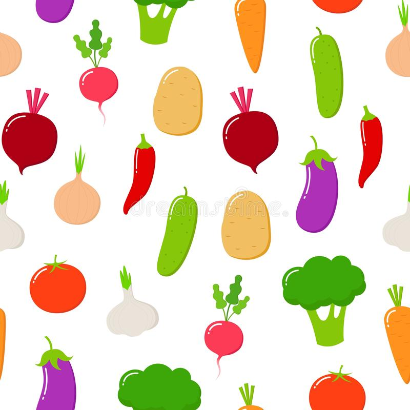 Teste padr?o sem emenda do alimento biol?gico Frutas e legumes do vetor em um fundo branco ilustração royalty free