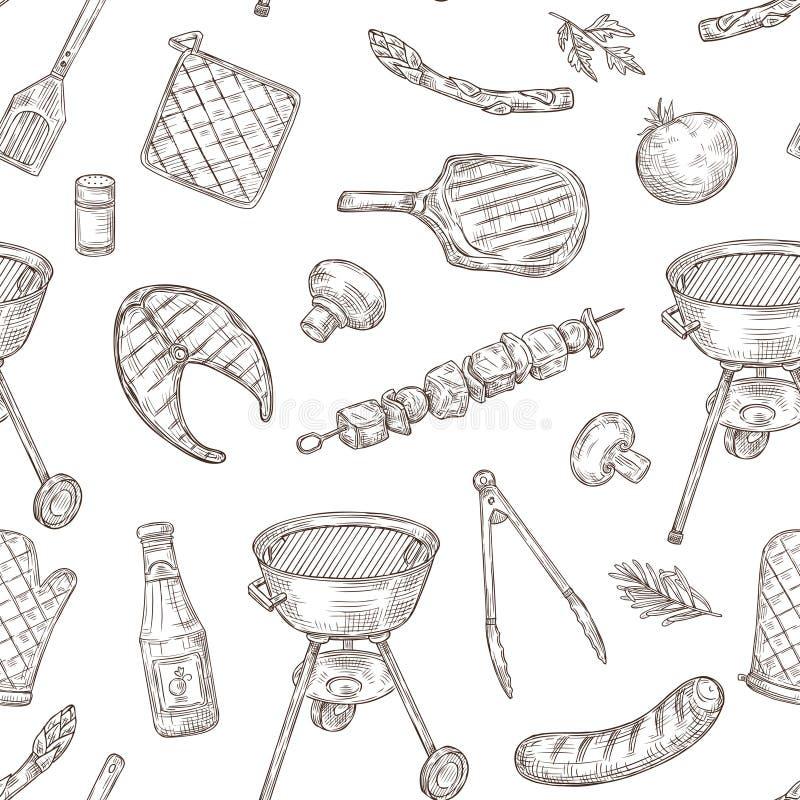 Teste padr?o sem emenda do assado Alimento fritado vegetais do BBQ do vintage do partido do piquenique da carne do bife da grade  ilustração stock