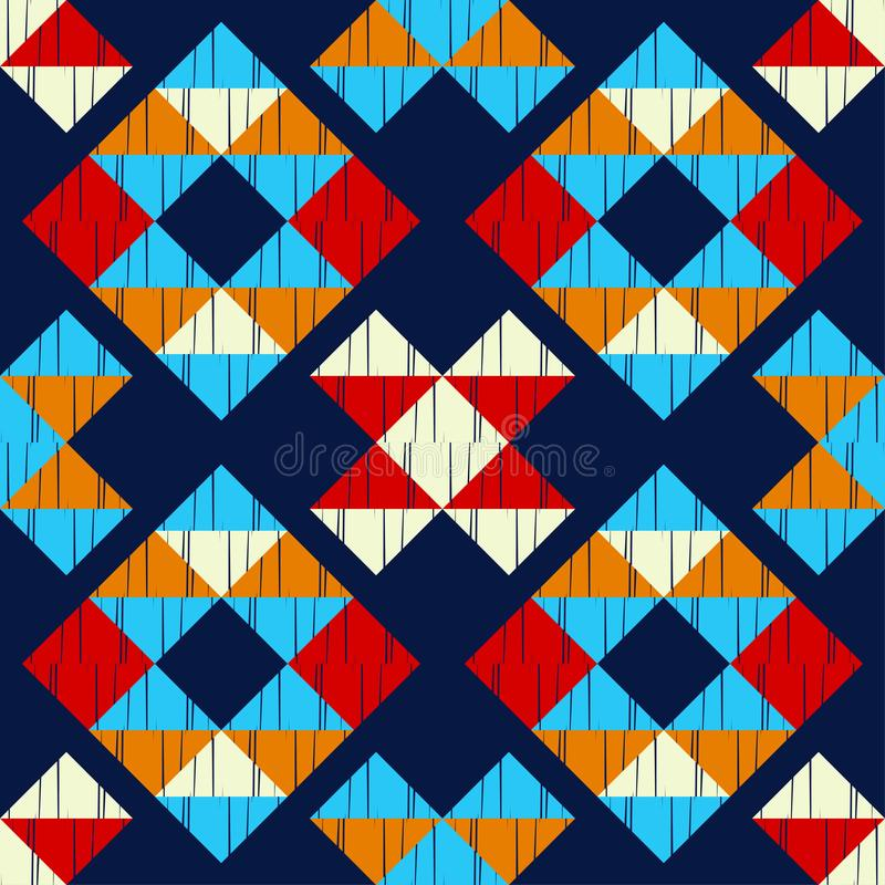 Teste padr?o sem emenda do boho ?tnico Bordado na tela Textura dos retalhos tecer Ornamento tradicional Teste padr?o tribal Motiv ilustração royalty free