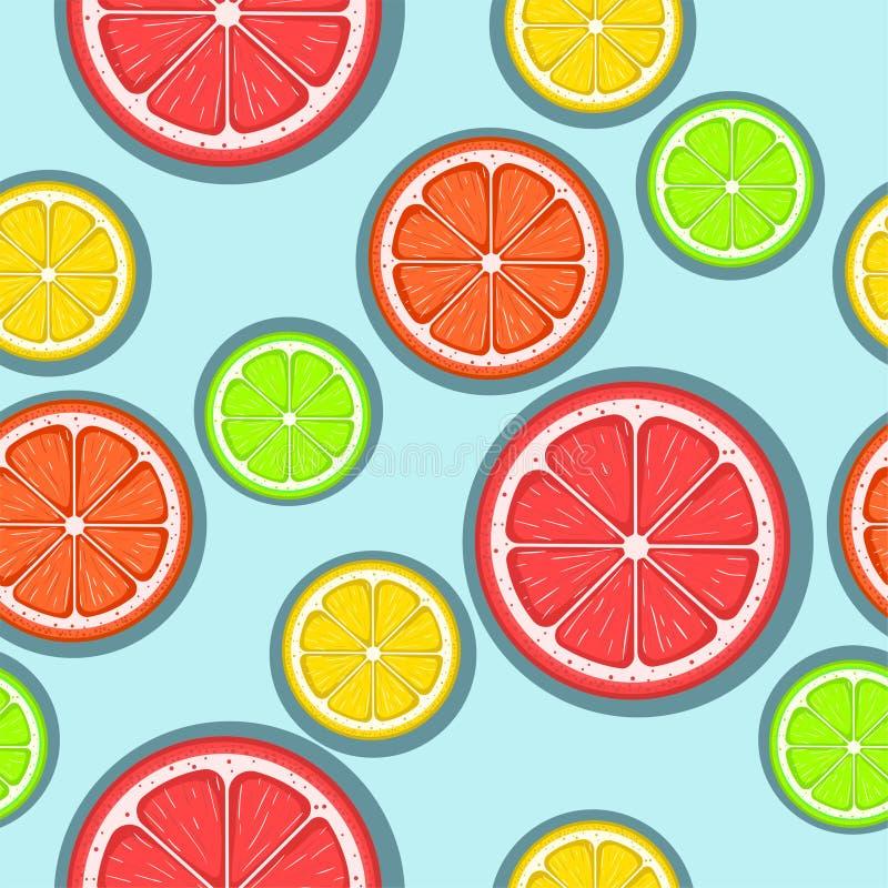 Teste padr?o sem emenda do citrino Fatias verdes, vermelhas e amarelas do citrino em um fundo azul Colheita do fruto Fundo eps 8  ilustração stock