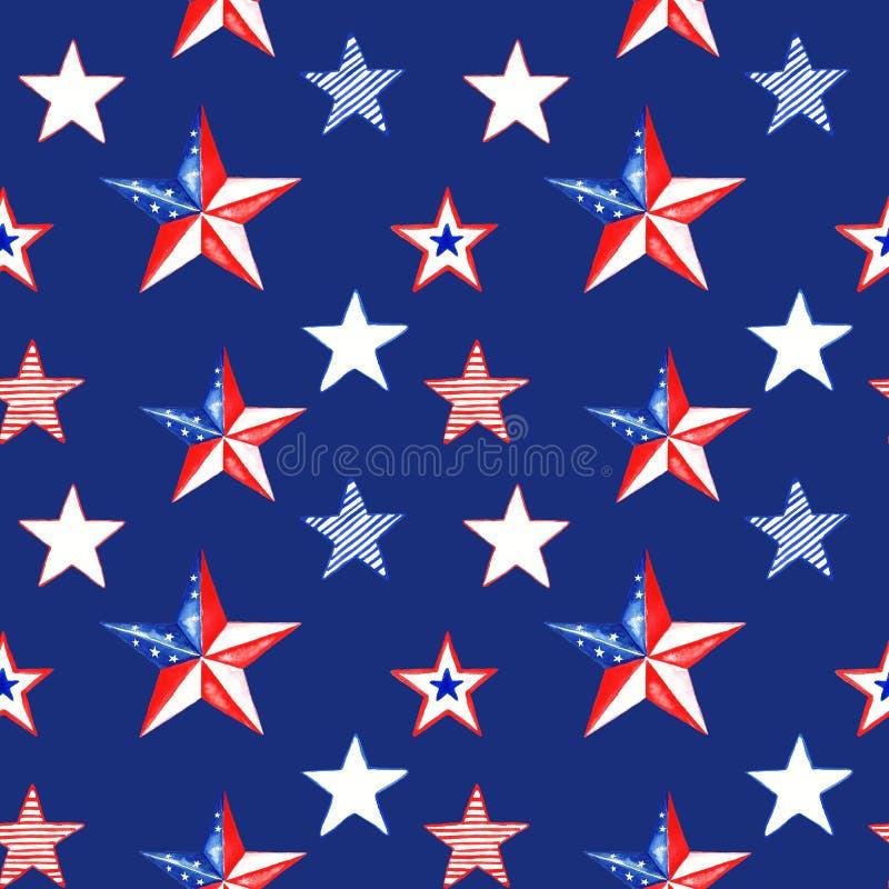 Teste padr?o sem emenda do Dia da Independ?ncia Fundo do Memorial Day da aquarela com as estrelas listradas vermelhas, brancas e  ilustração stock
