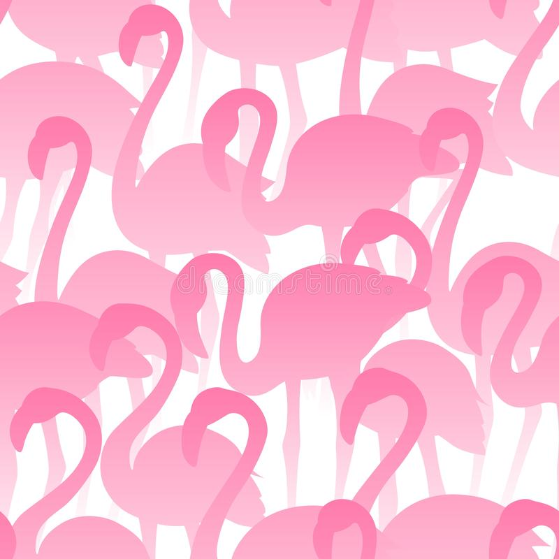 Teste padr?o sem emenda do flamingo Textura exótica tropical do vetor P?ssaros desenhados m?o ilustração stock