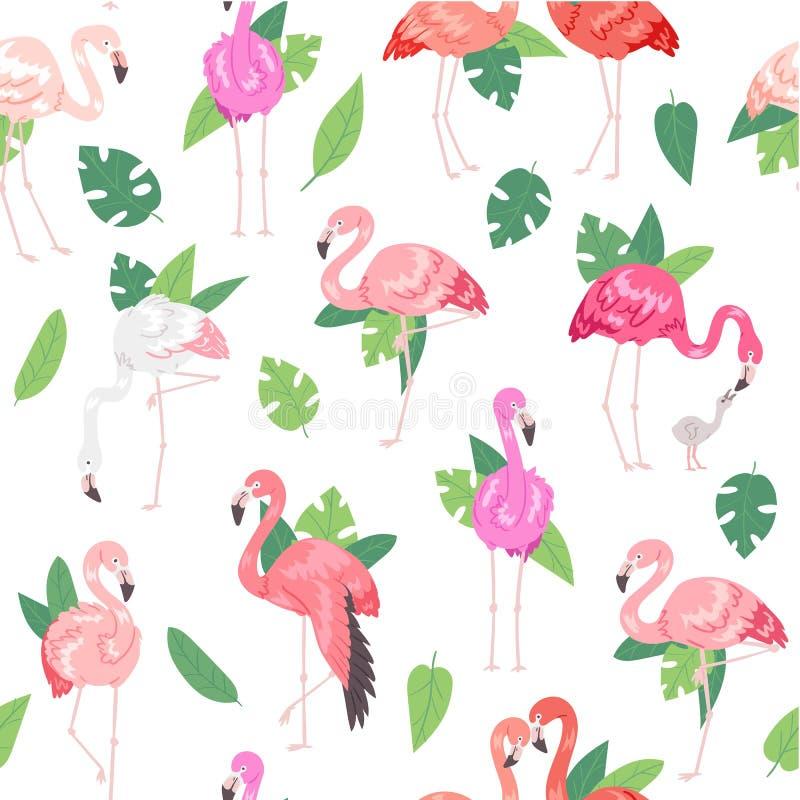 Teste padr?o sem emenda do flamingo tropical Ilustra??o do vetor das horas de ver?o Homem cor-de-rosa e flamingos fêmeas, pares,  ilustração stock