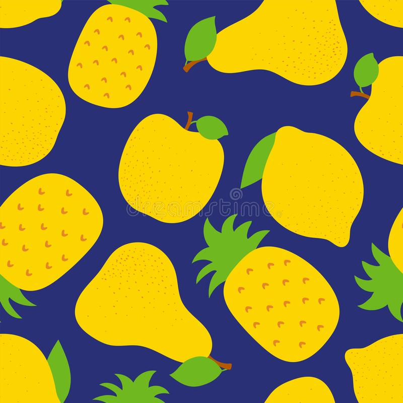Teste padr?o sem emenda do fruto ex?tico Abacaxi, pera e ma?? doces Lim?o amarelo Projeto da forma C?pia do alimento para o vesti ilustração royalty free