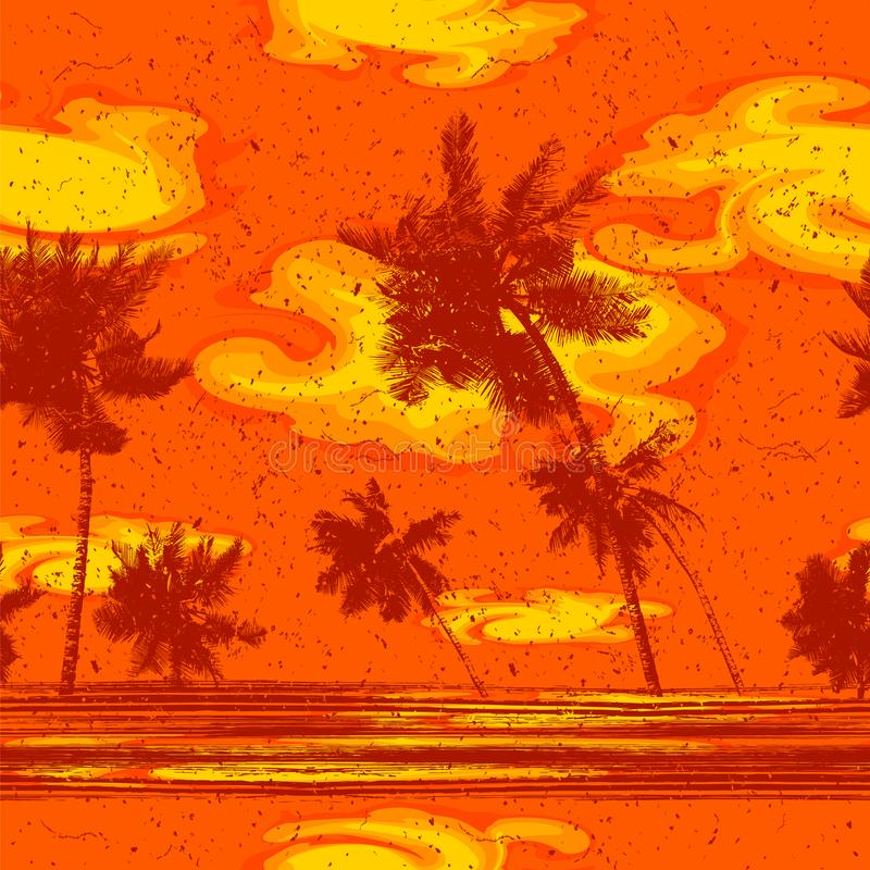 Teste padr?o sem emenda do fundo de Palm Beach ilustração stock