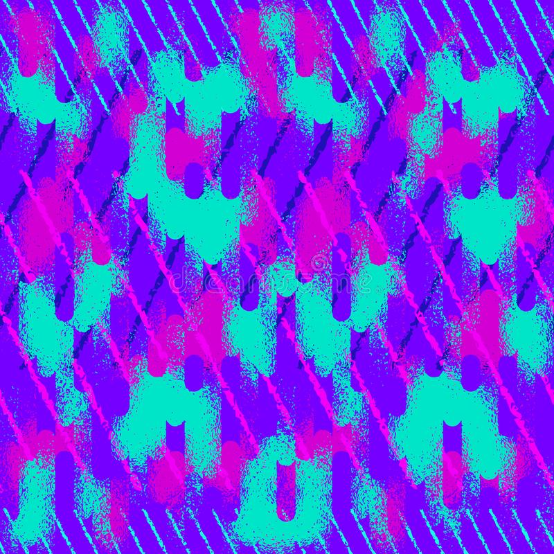 Teste padr?o sem emenda do grunge abstrato Textura urbana da rua com linhas de néon, cursos ilustração do vetor