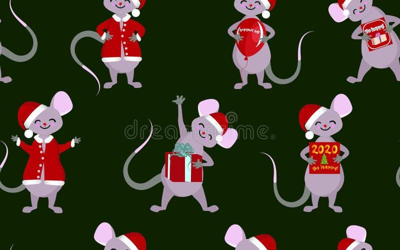 Teste padr?o sem emenda do Natal Os símbolos de ano novo de 2020 Ratos e ratos com presentes e cumprimentos ilustração royalty free