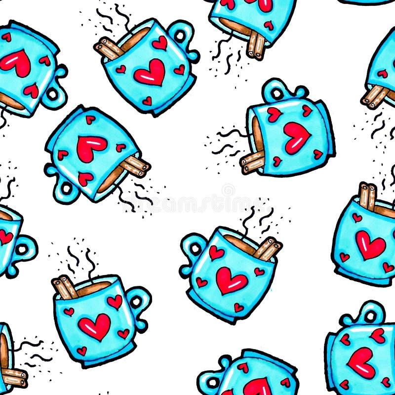 Teste padr?o sem emenda do Natal tirado ? m?o Copo azul com corações em um fundo branco Caf?, cacau, canela Ano novo ilustração stock