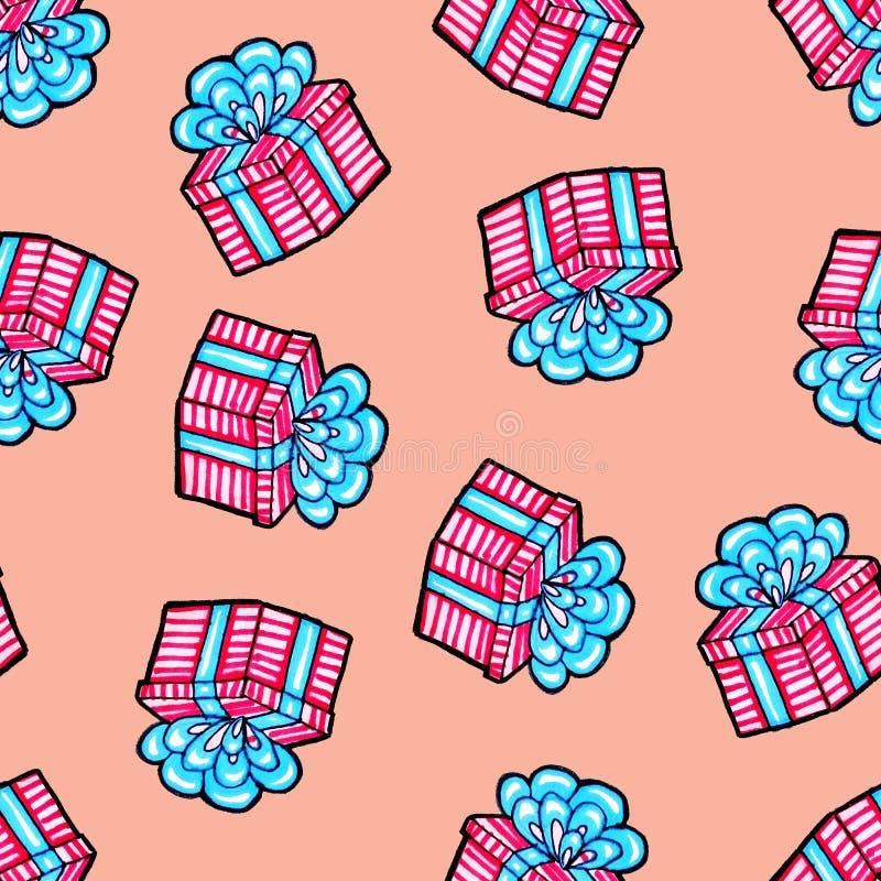 Teste padr?o sem emenda do Natal tirado ? m?o Presente azul com fita cor-de-rosa em um fundo cor-de-rosa Ano novo feliz ilustração do vetor