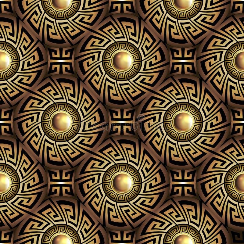 teste padr?o sem emenda do ouro chave grego do meandro 3d Fundo geom?trico abstrato do vetor O grego clássico do vintage decorati ilustração stock