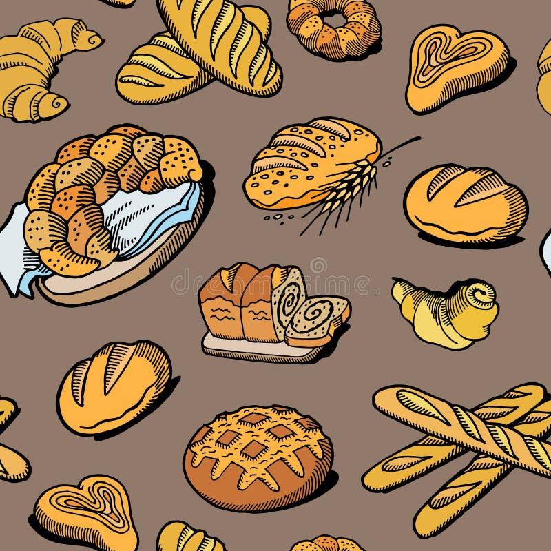 Teste padr?o sem emenda do p?o Desenho do vetor Fundo colorido produto do esboço da padaria Ilustração do alimento do vintage par ilustração do vetor