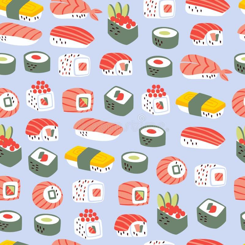 Teste padr?o sem emenda do sushi e dos rolos Fundo japon?s do alimento ilustração stock