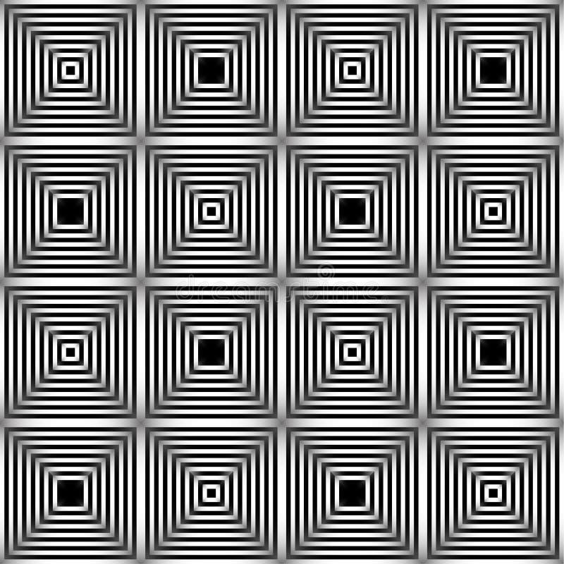 Teste padr?o sem emenda do vetor abstrato Ornamento preto e branco gr?fico monocrom?tico Repetição listrada da ilusão ótica ilustração stock