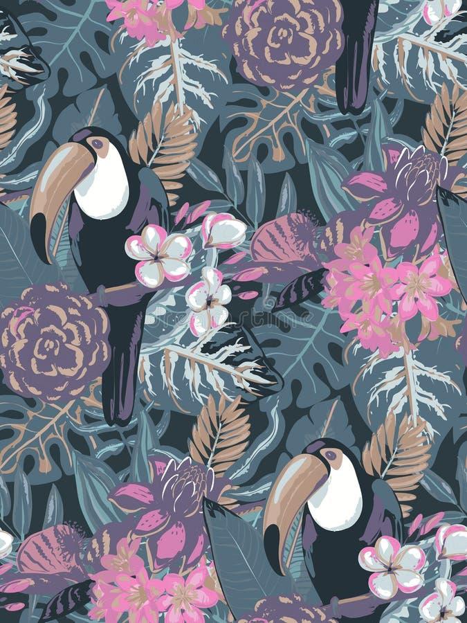 Teste padr?o sem emenda do vetor com o tucano do p?ssaro tropico com flores e folhas de palmeira ex?ticas ilustração royalty free