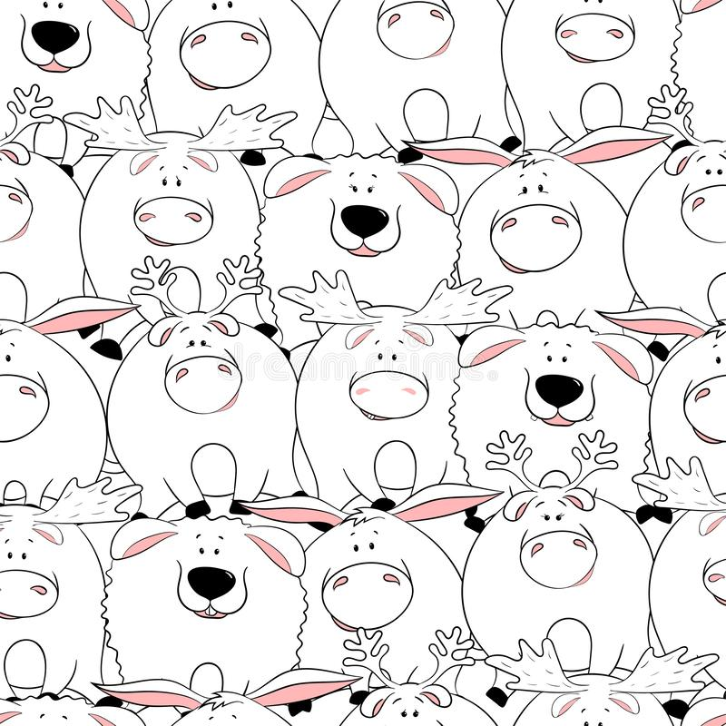 Teste padr?o sem emenda do vetor com os animais gordos bonitos engra?ados desenhados ? m?o Silhuetas dos animais em um fundo bran ilustração royalty free