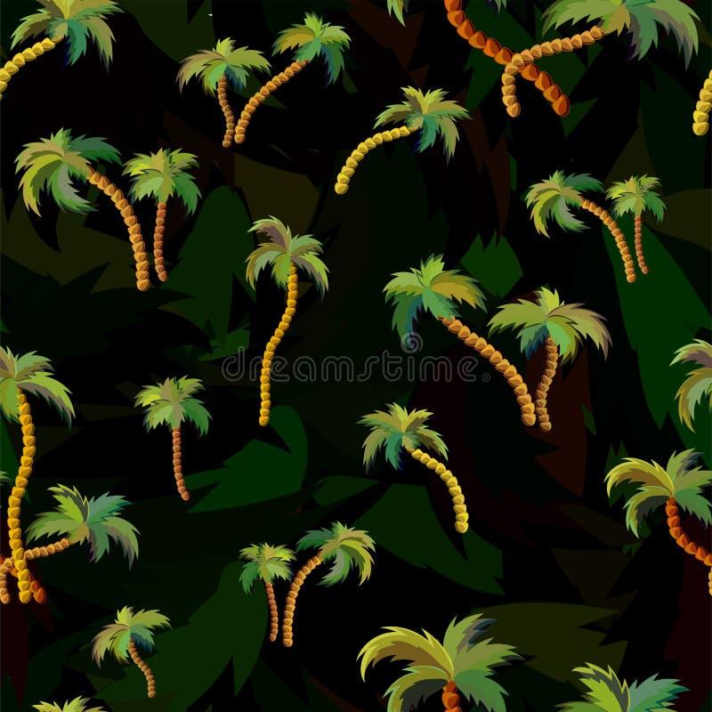 Teste padr?o sem emenda do vetor com palmeiras ilustração stock