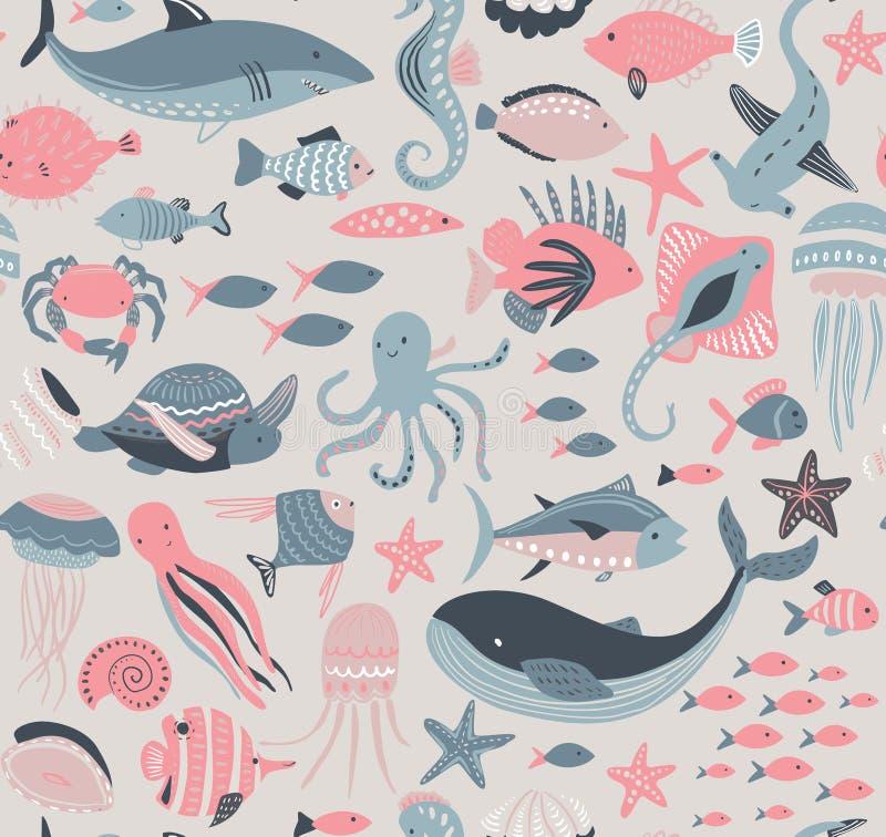Teste padr?o sem emenda do vetor com peixes e animais de mar ilustração do vetor