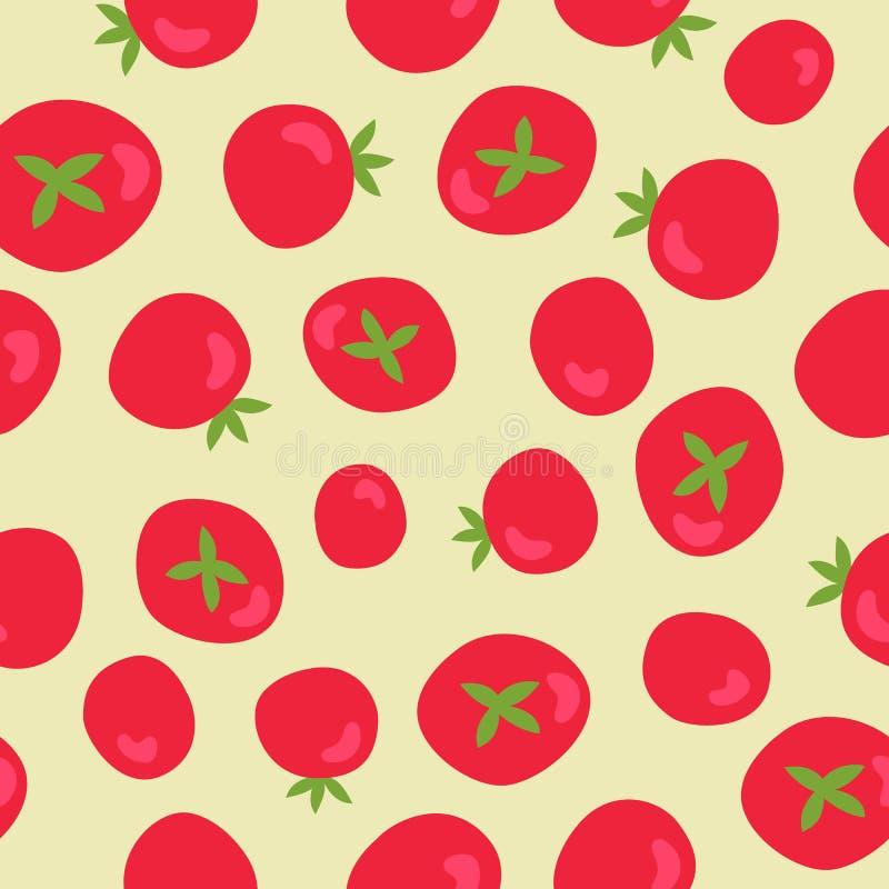 Teste padr?o sem emenda do vetor com tomates vermelhos Alimento biol?gico fresco Vegetariano, explora??o agr?cola, fundo natural  ilustração royalty free