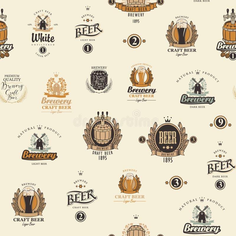Teste padr?o sem emenda do vetor com v?rias etiquetas da cerveja ilustração do vetor