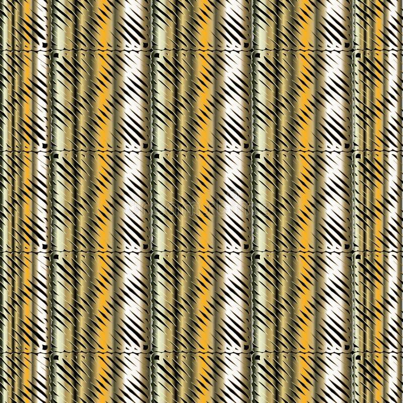 Teste padr?o sem emenda do vetor listrado do grunge 3d Fundo textured decorativo colorido Repita o contexto metálico dourado sujo ilustração do vetor